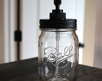 Mason Jar Soap Dispenser -- Black