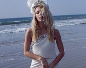 Bridal Tiara, White Feather Headband, White Wedding Headpiece, Ice Queen Crown, Avant Garde Hair Accessory