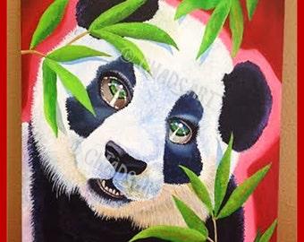 """PANDA BEAR ART titled """"Panda Bear"""" Print, Bear Art, Giant Panda Art, Asian Art, Animal Art, Art of China, Chinese Panda Bear Art"""