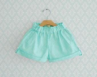 Polka dots Mint Shorts for girls, Toddler Polka Dots Shorts, Aqua dots shorts for Girls