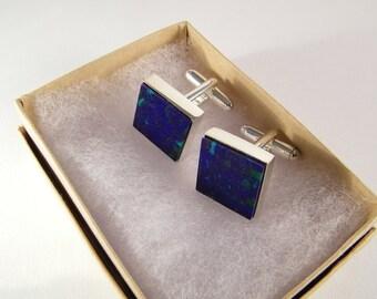 Blue Wedding Cufflinks SHIPS IMMEDIATELY Handmade Blue Green Cuff Links
