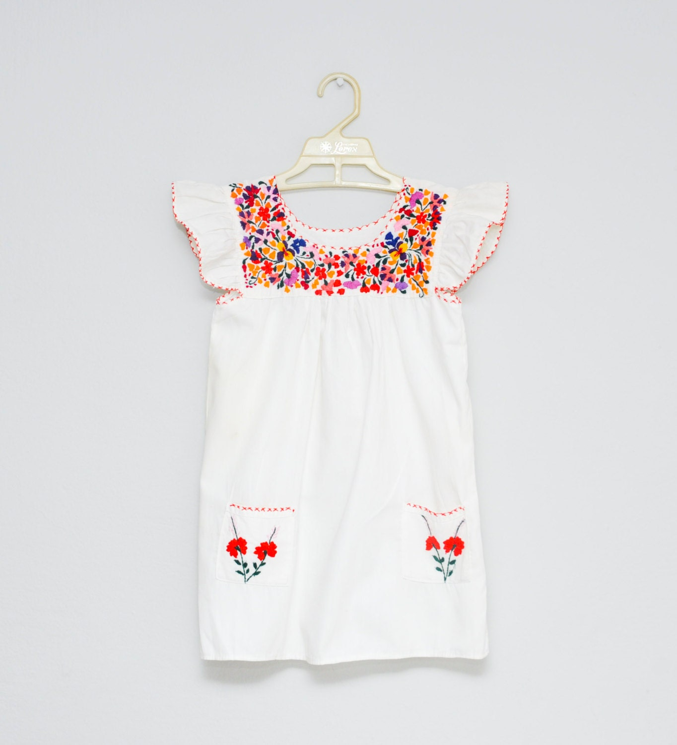 Vintage mexican dress baby girl toddler size embroidered