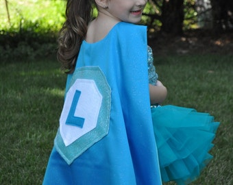 Blue Glitter Princess Cape - ages 5 to 7