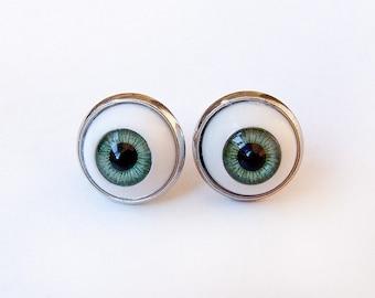 Green Eye Earrings - Studs Round Small Post - Gothic Pastel Goth Weird Spooky Quirky Evil Eye Edgy kitsch Macabre Halloween Dark kawaii