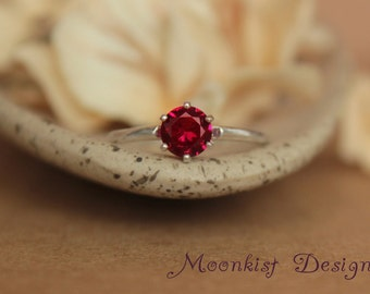 Elegant Dark Red Ruby Classic Solitaire in Sterling - Silver Vintage-style Ruby Engagement Ring, Promise Ring, or July Birthstone Ring