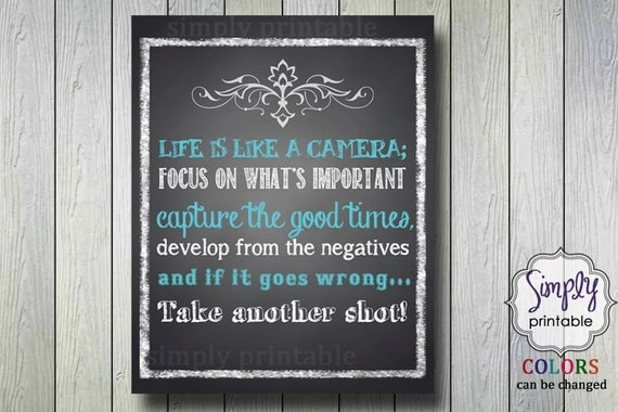 Life is Like a Camera Printable 8x10 Print Teal and White