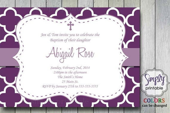 Purple First Communion or Baptism Invite