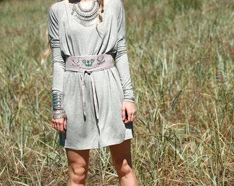 Grey square cut jersey dress, long sleeve dress
