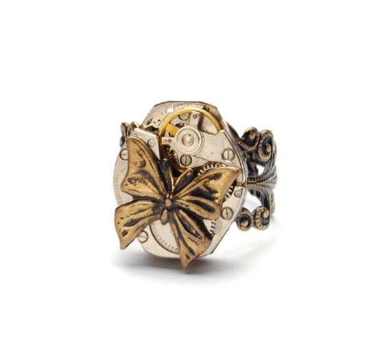 BUTTERFLY Steampunk Ring Steampunk Butterfly Ring Steampunk Watch Ring Antique Brass Steam Punk Steampunk Jewelry By Victorian Curiosities