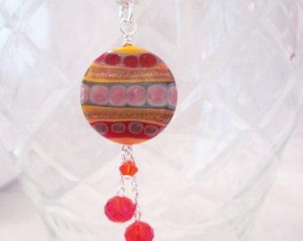 Artisan Created Golden Copper Fire Tribal -Lampwork Glass Necklace - Swarovski Crystal, Glass Necklace, Handmade, Unique, OOAK, SRAJD