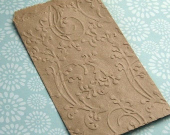 20 Small Kraft Paper Bags Embossed Flourish Vines 3 1/4 x 5 1/4 inches - Wedding Confetti Bag
