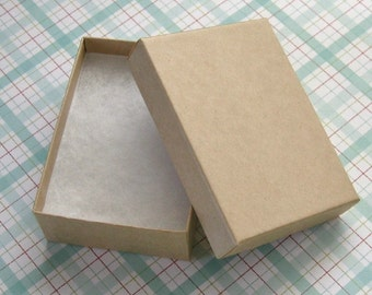 Kraft Cotton Filled Jewelry Boxes High Quality 3 1/8 x 2 1/4 x 1 inch - 10 Medium