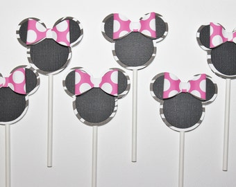 Minnie Mouse Zebra Cupcake Toppers - Mickey