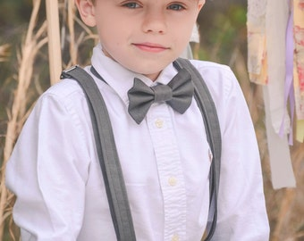 Linen Ring Bearer 4 Piece SHORT Set, Ring Bearer Bowtie, Suspenders, Newsboy hat and Shorts. Wedding Outfit for Ringbearer