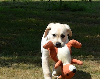 YELLOW LABRADOR PUPPY retrieves his stuffed kangaroo friend Greeting Card  Dog Portrait