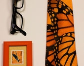 Monarch Butterfly orange tie.  Mens cool orange necktie with insect wing. Crazy tie for trendy entomologist. Alternative men's fashion.
