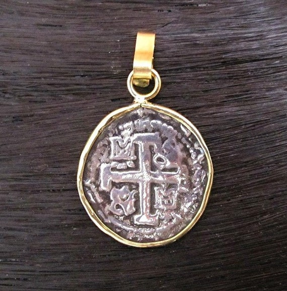 spanish coin pendant in sterling silver and 18k gold