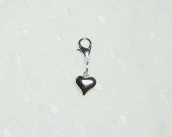 Silver Puffy Heart Cell Phone Lanyard Charm Bracelet Zipper Pull with Lobster Clasp