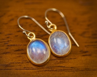 Cabochon Rainbow Moonstone Earrings - Tiny Gold Moonstone Earrings - Gemstone Earrings - June Birthstone Earrings