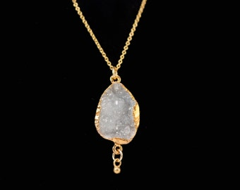 White Druzy Necklace - Drusy Agate Necklace - Druzzy - Gold Druzy - Gemstone Necklace