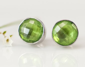 Stud Earrings - Peridot Studs -  August Birthstone Earrings - Post Earrings - Silver Studs -  Gemstone Studs - Round Studs