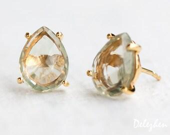 Green Amethyst Stud Earrings - Post Earrings - Gold Stud Gemstone Earrings - Tear drop Stud - Prong Set studs