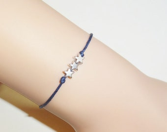 Stars Bracelet or Anklet, Three Silver Stars, Three Little Wishes, Three Wishes, Fourth of July Jewelry, BFF Gift, Best Friend Gift
