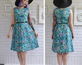 Vintage 1950s Purple and Teal Floral Dress Size XS or Small