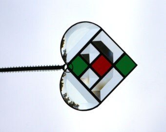 Green and Red with Clear Bevels Stained Glass Heart Suncatcher