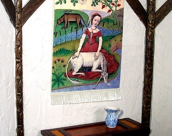 Unicorn Purity Tapestry, Medieval Dollhouse Miniature 1/12 Scale, Hand Made