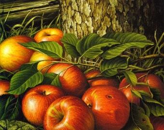 Apples and Tree Trunk - Cross stitch pattern pdf format