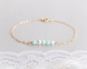 Crème de Menthe Bracelet . mint alabaster swarovski crystals and white pearl . 14k yellow or rose gold filled chain . bridesmaid gift