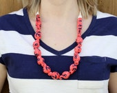 Teething Necklace in Coral Anchors