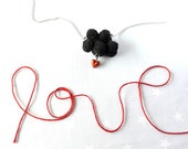 Valentines Black cloud and red heart. Crochet cloud. Love Necklace cloud
