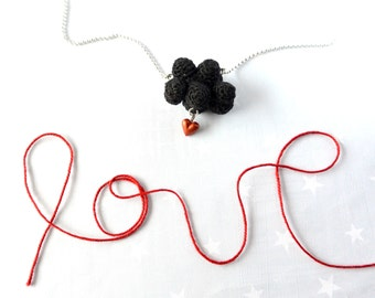 Black cloud and red heart. Crochet cloud. Love Necklace cloud