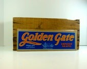 Vintage 1950's Golden Gate Brand Produce Label Blue Red Emperor Grapes Exeter California USA San Francisco Sign Advertisement