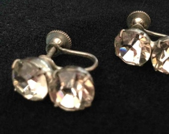 Vintage Rhinestone Roller-Back Earrings - Free Shipping to the USA