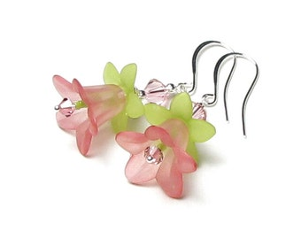 Soft Pink Lime Green Swarovski Crystal Two Tone Dyed Flower Silver Dangle Earrings Spring Jewelry Summer Rose Garden Wedding Bridesmaid Gift