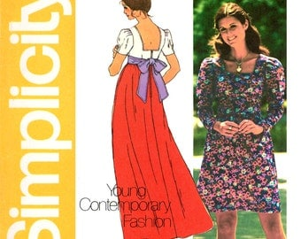 1970s Maxi Dress Pattern Bust 34 Uncut Simplicity 5469 Empire Waist Square Neckline Sash Evening Dress Womens Vintage Sewing Patterns