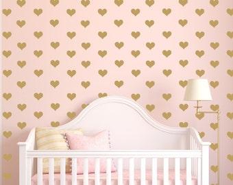 Mini Heart Decals, Gold Hearts, Tiny Hearts Sticker Wall Art, Mini Hearts Vinyl Decals, Small heart decals