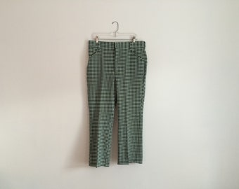 1970s Mens Retro Hipster Checkered Houndstooth Golf Pants