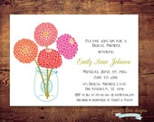 Printable Blooms Bridal Shower Invites or Birthday Invite (digital file) DIY Printing at home or your choice of printer
