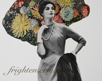 One of a Kind Retro Paper Collage Mid Century Woman with Flowers Art