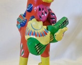 """Rooster playing guitar clay bird sculpture bright whimsical signed """"Ortega""""  Mexican Folk Art"""