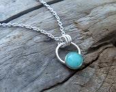 Amazonite Sterling Silver Bezel Drop Necklace.