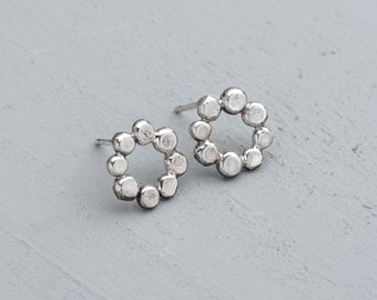 Sterling silver earrings - pebble studs - pebble earrings - silver studs - silver circle studs