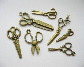 SALE - Scissor Charm Collection in Bronze Tone - C1752