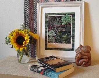 "Vegetable Patch, Victory Garden, Raised Vegetable Beds, Garden Art, 8"" x 10"" Art Print"