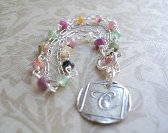 Gemstone and Sterling Silver Double Strand Wax Seal Initial Charm Bracelet