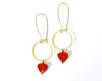 Vintage inspired // Red heart // brass bohemian // teardrop earrings